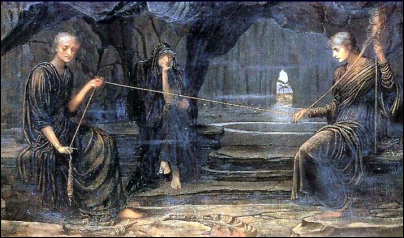 Estas son las tres Moiras de la mitología griega. Se puede ver como están tejiendo el destino de algún pobre desafortunado.